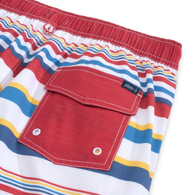 Johnnie-O Men's Bathing Suit Johnnie-O, Men's Hope Town Volley/Board Short (Boardwalk Stripe)