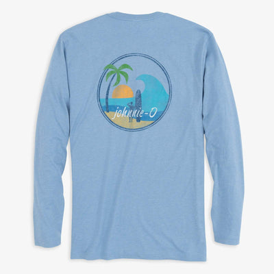 Johnnie-O Men's Long Sleeve Tee Medium Johnnie-O, Men's Long Sleeve Island Vibes Tee (Gulf Blue)