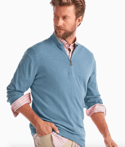 Johnnie-O Men's Sweaters Large / Mariner Johnnie-O, Men's Bailey Quarter-Zip (Blue)