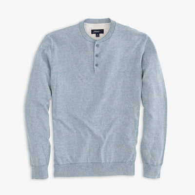 Johnnie-O Men's Sweaters Medium Johnnie-O, Men's Bran Henley Shirt (Stone Blue)