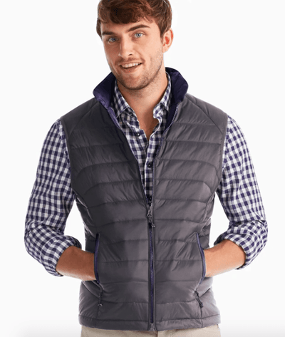 Johnnie-O Men's Vest Large / Stormfront Johnnie-O, Men's Straits Vest ( Storm Grey)