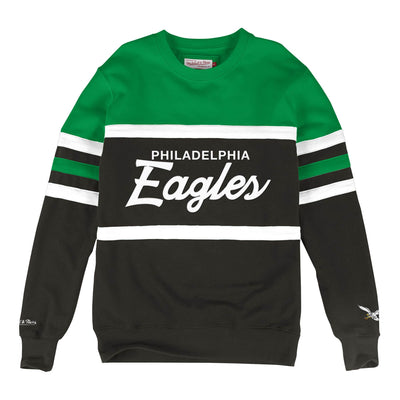 Mitchell & Ness Men's Sweaters Large / Green Mitchell & Ness, Men's Eagles Head Coach Crew Sweater (Green)