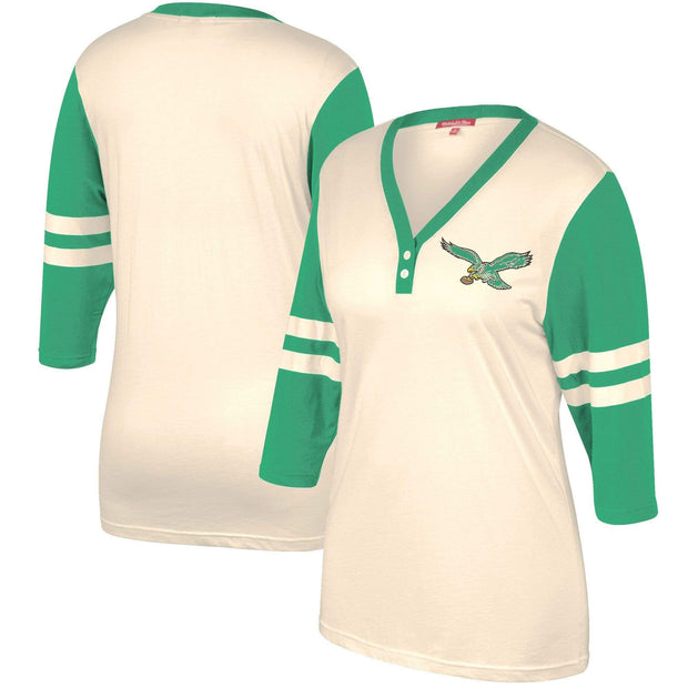 Mitchell & Ness Women's Tee Shirt Mitchell & Ness, Women's Eagles Shoot Out Tee (White and Green)