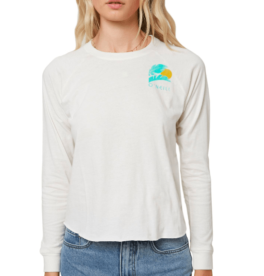 O'Neill Women's Long Sleeve Tee Large / White O'Neill, Women's Secret Beach Long Sleeve Tee (White)