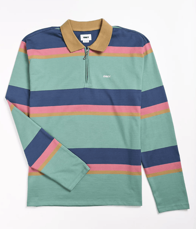 OBEY Men's Polo Shirts Large / Mint Green Stripe Obey, Men's Structured Long Sleeve Polo (Mint Stripe)