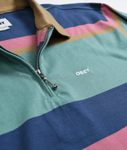 OBEY Men's Polo Shirts Obey, Men's Structured Long Sleeve Polo (Mint Stripe)