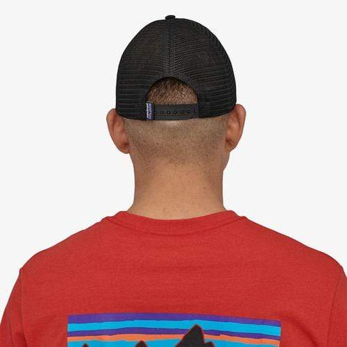 Patagonia Hats Black Patagonia, Men's Line Logo Ridge LoPro Trucker Hat (Black)