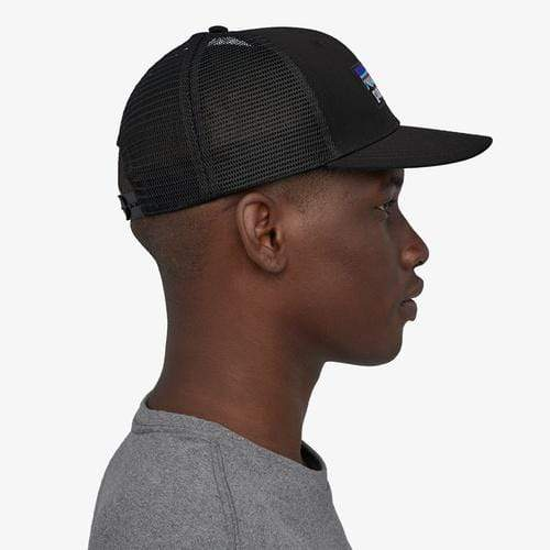 Patagonia Hats Black Patagonia, Men's P-6 Logo Trucker Hat (Black)