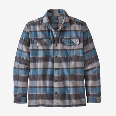 Patagonia Men's Flannel Large / Pigeon Blue Patagonia, Men's Plaid Fjord Flannel (Blue)