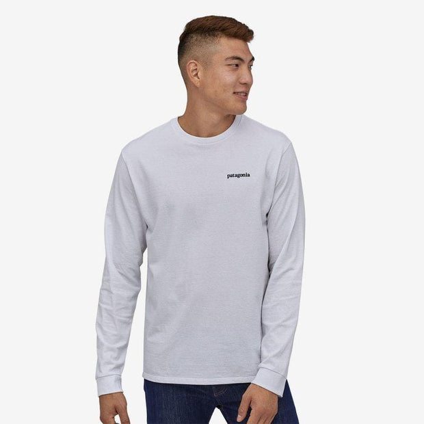 Patagonia Men's Long Sleeve Tee Patagonia, Men's Line Logo Ridge Responsibili-Tee (White)