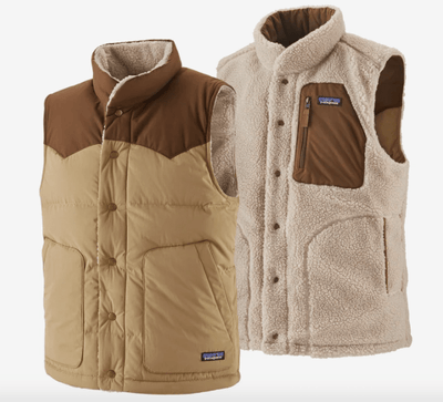 Patagonia Men's Vest Large / Classic Tan Patagonia, Men's Reversible Bivy Down Vest (Classic Tan)