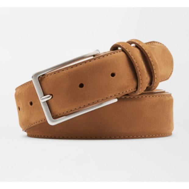Peter Millar Men's Belt 34 / Amber Peter Millar, Men's Nubuck Leather Belt (Light Brown)