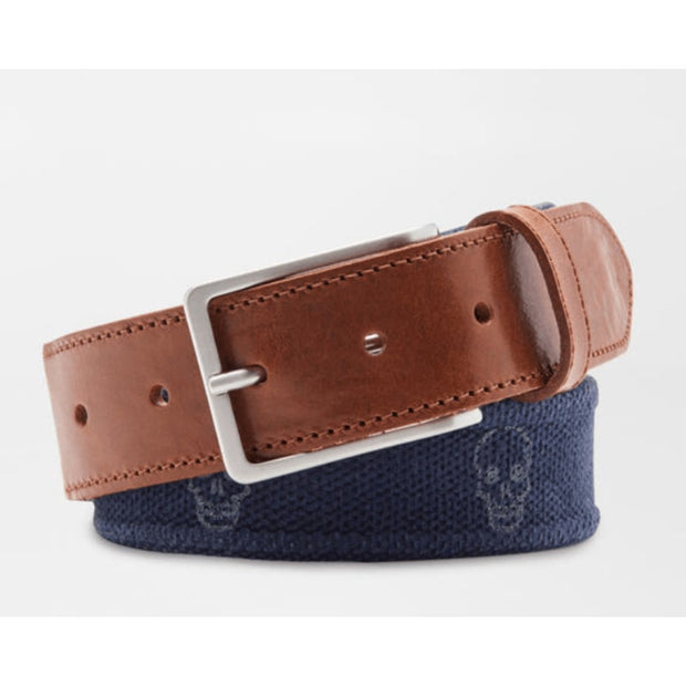 Peter Millar Men's Belt 34 / Navy Peter Millar, Men's Skulls Canvas Belt (Navy Blue)