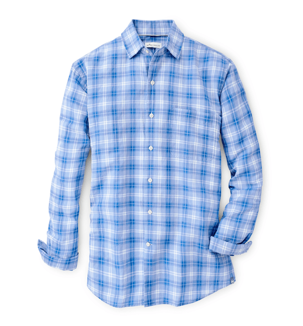 Peter Millar Men's Button-Down Shirts Large Peter Millar, Men's Whitehaven Shirt (Lake Blue)