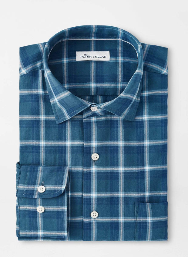 Peter Millar Men's Button-Down Shirts Peter Millar, Men's Hanmer Springs Cotton Sport Shirt (Deep Sea Blue)