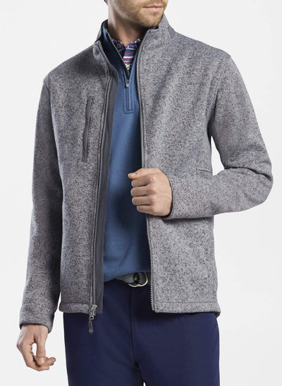 Peter Millar Men's Jacket Peter Millar, Men's Condor Sweater Fleece Jacket (Gale Grey)