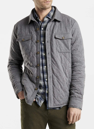 Peter Millar Men's Jacket Peter Millar, Men's Cotton-Cashmere Shirt Jacket (Gale Grey)