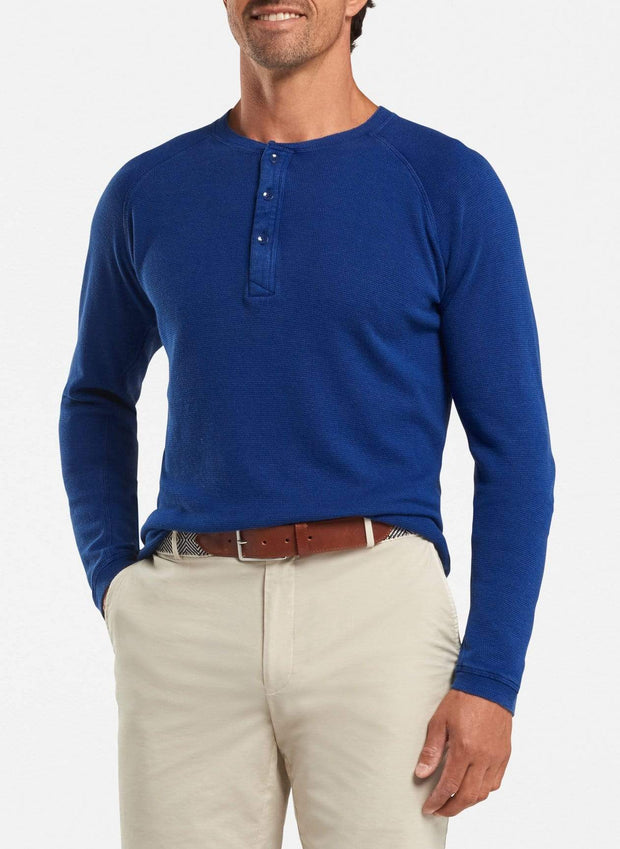 Peter Millar Men's Long Sleeve Tee Peter Millar, Men's Henley Shirt (Navy)