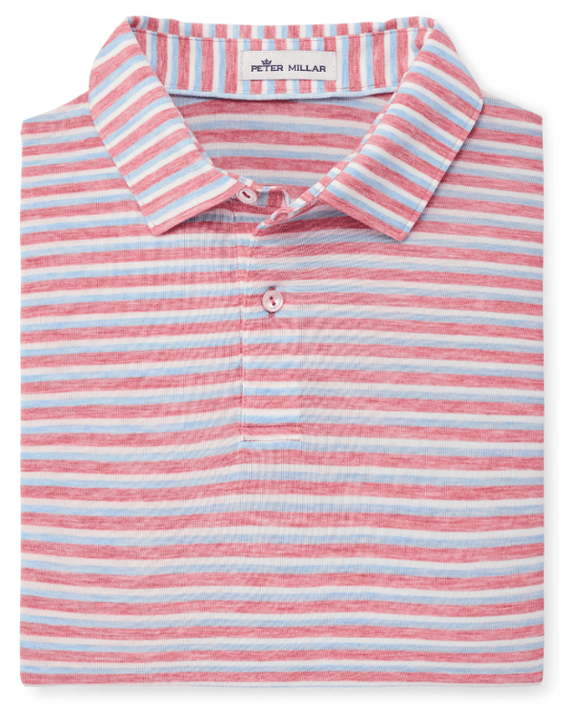 Peter Millar Men's Polo Shirts Medium / Ginger Red Peter Millar, Men's Natural Touch Striped Polo (Multiple Colors)
