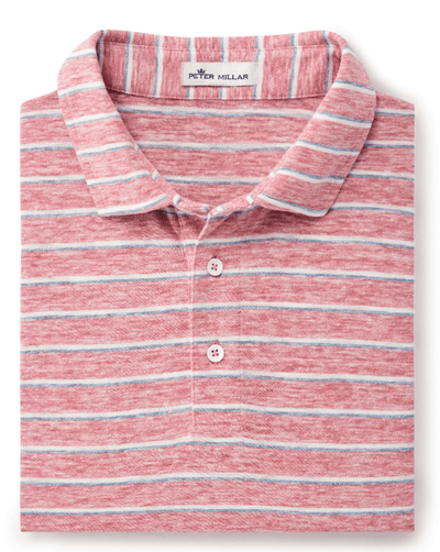 Peter Millar Men's Polo Shirts Medium / Hyannis Red Peter Millar, Men's Seaside Striped Slub Polo (Multiple Colors)