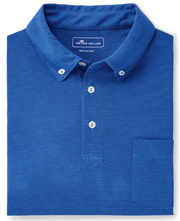 Peter Millar Men's Polo Shirts Medium Peter Millar, Men's Shark Island Aqua Cotton Polo (Lazuline Blue)