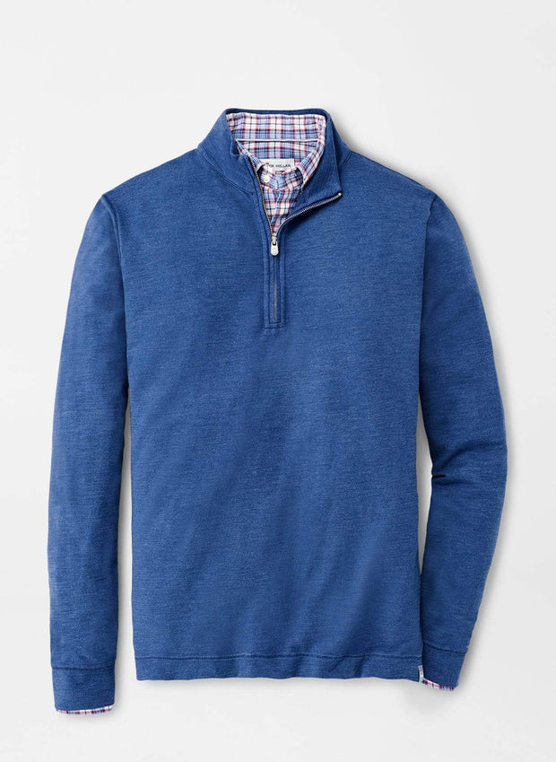 Peter Millar Men's Sweaters Large / Blue Peter Millar, Men's Seaside Slub Quarter-Zip Sweater (Blue)