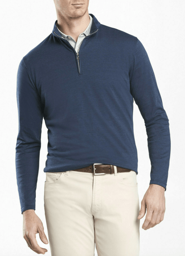 Peter Millar Men's Sweaters Large Peter Millar, Men's Cotton Cashmere Quarter Zip (Navy Blue)