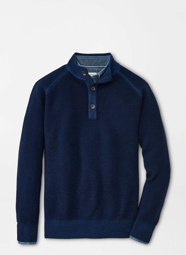 Peter Millar Men's Sweaters Medium / Atlantic Blue Peter Millar, Waffle Stitch Button-Mock Sweater (Atlantic Blue)