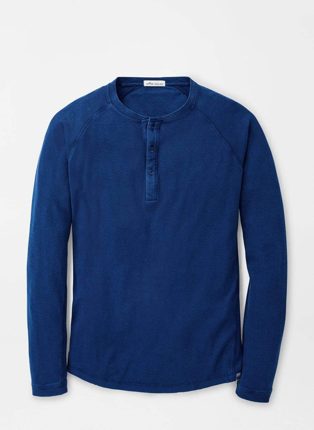 Peter Millar Men's Sweaters Medium Peter Millar, Men's Sun-Washed Henley (Atlantic Blue)