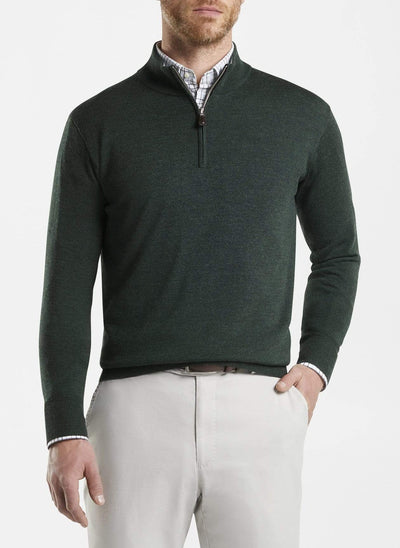 Peter Millar Men's Sweaters Peter Millar, Men's Crown Soft Merino-Silk Quarter-Zip (Jurassic Green)