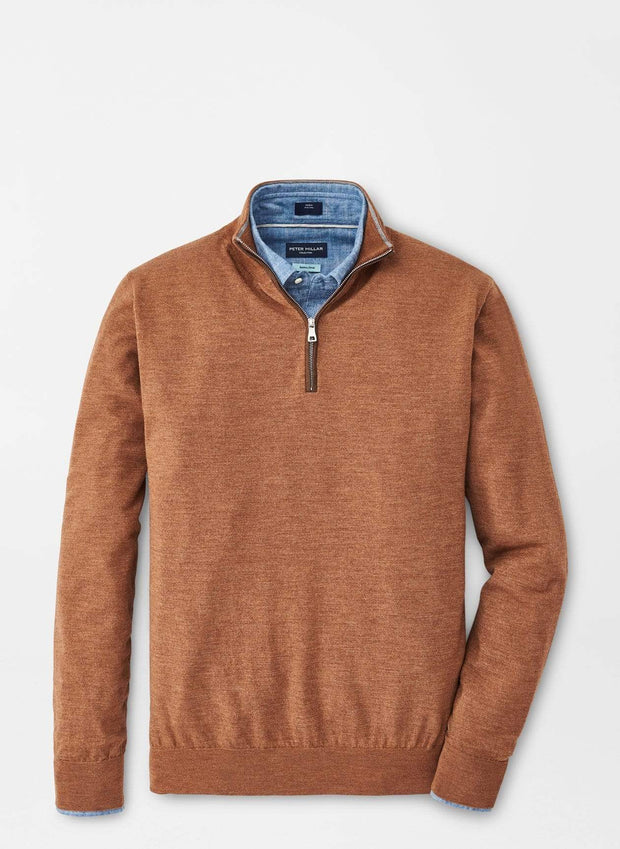 Peter Millar Men's Sweaters Peter Millar, Men's Excursionist Flex Quarter-Zip Sweater (Vicuna Orange)