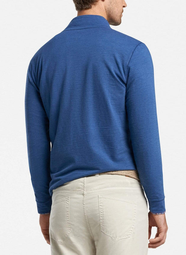 Peter Millar Men's Sweaters Peter Millar, Men's Seaside Slub Quarter-Zip Sweater (Blue)