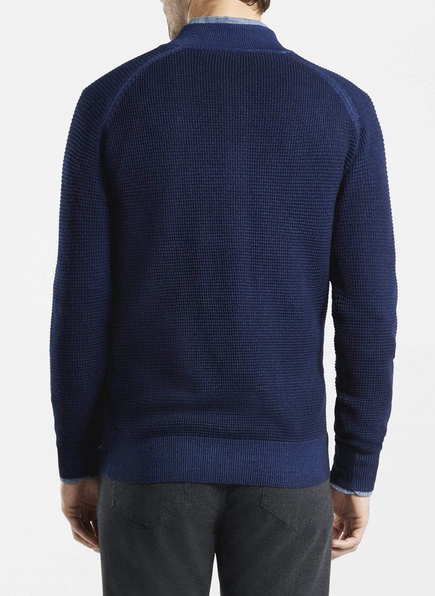 Peter Millar Men's Sweaters Peter Millar, Waffle Stitch Button-Mock Sweater (Atlantic Blue)