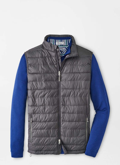 Peter Millar Men's Vest Large / Iron Grey Peter Millar, Men's Hyperlight Quilted Vest (Dark Grey)
