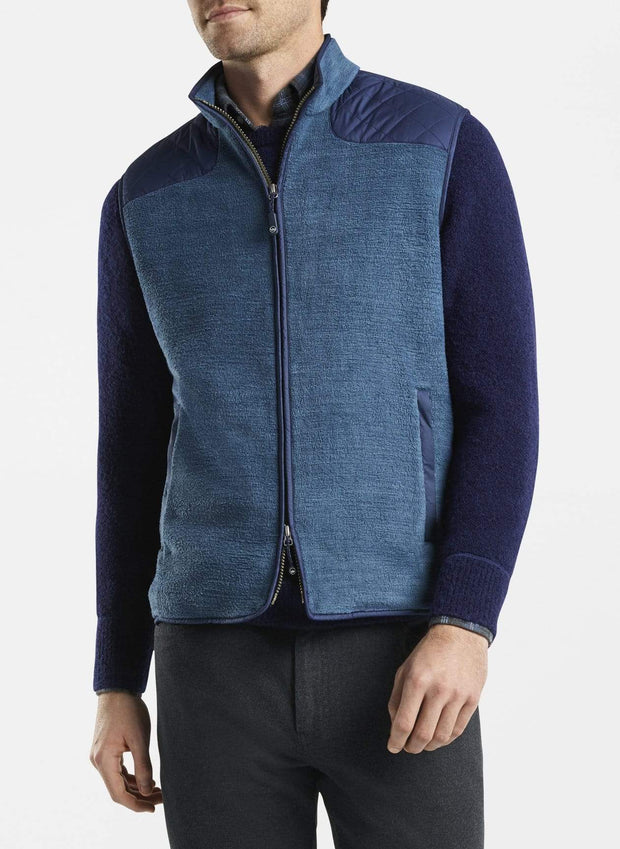 Peter Millar Men's Vest Peter Millar, Men's Sherpa Fleece Vest (Deep Sea Blue)