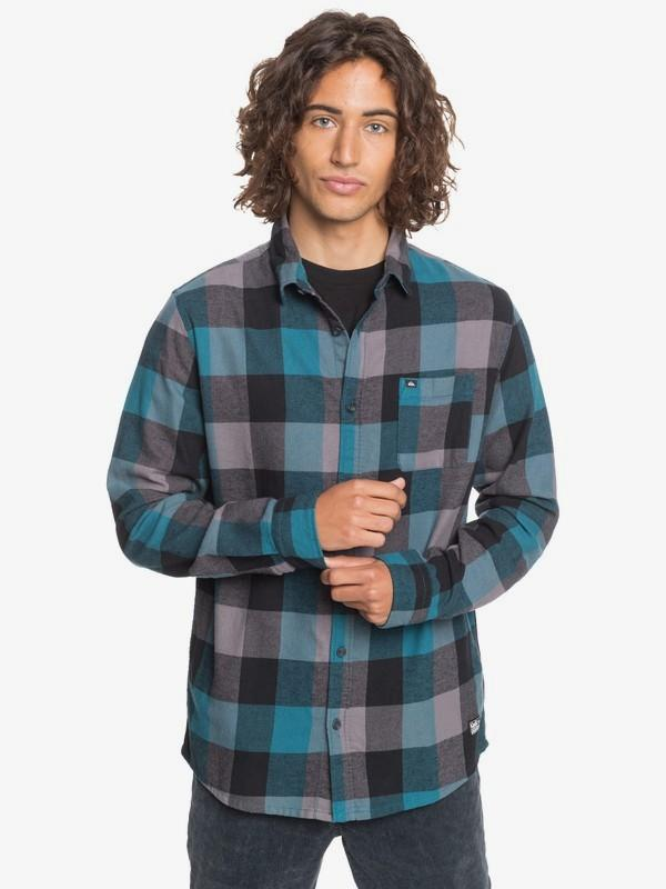 Quiksilver Men's Flannel Large / Coral Blue Quiksilver, Men's Motherfly Flannel (Multiple Colors)