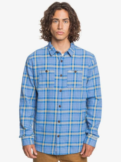 Quiksilver Men's Flannel Large / Yonder Blue Quiksilver, Men's Shadow Sets Flannel (Medium Sky Blue)