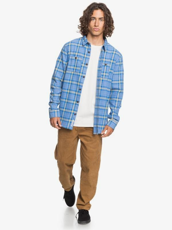 Quiksilver Men's Flannel Quiksilver, Men's Shadow Sets Flannel (Medium Sky Blue)