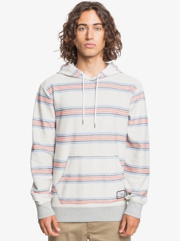 Quiksilver Men's Sweatshirt Large / Stripe Light Grey Quiksilver, Men's Great Otway Hoodie (Stripe Light Grey)
