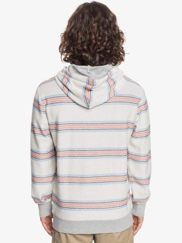 Quiksilver Men's Sweatshirt Quiksilver, Men's Great Otway Hoodie (Stripe Light Grey)