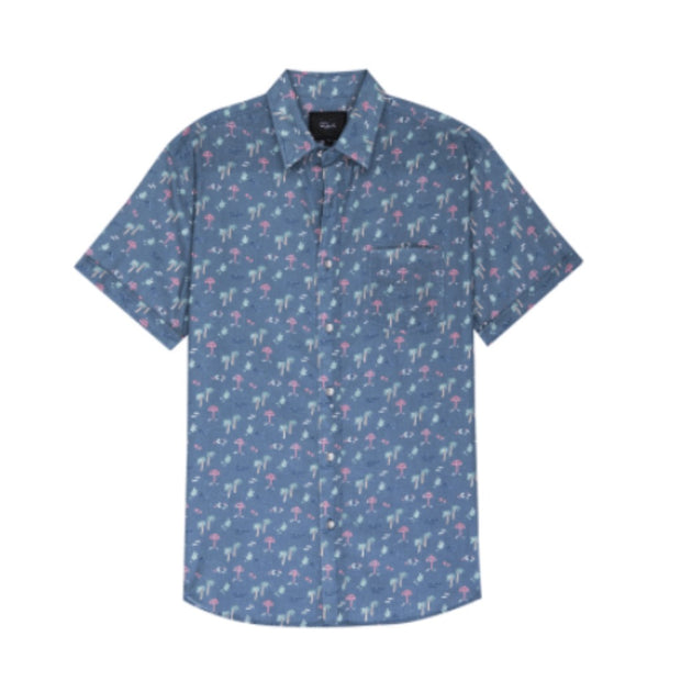 Rails Short Sleeve Button Down blue