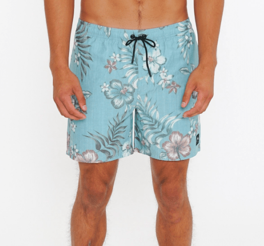 Rusty Men's Bathing Suit 32 / Blue Fog Rusty, Men's Hibiscus Elastic Volley Surf Short (Blue Fog)