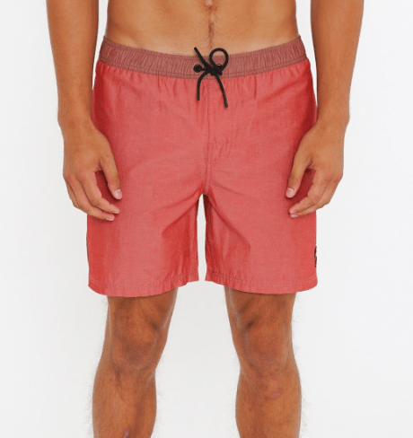 Rusty Men's Bathing Suit 32 / Red Brick Rusty, Momento Elastic Volley Surf Short (Brick Red)