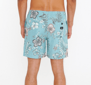 Rusty Men's Bathing Suit Rusty, Men's Hibiscus Elastic Volley Surf Short (Blue Fog)