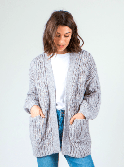 Rusty Women's Sweaters Large / Light Grey Folktale Chunky Knit Cardigan (Light Grey)