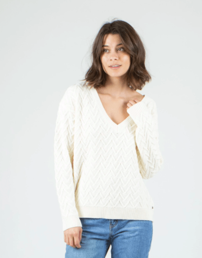 Rusty Women's Sweaters Medium / Vanilla Cream Rusty, Women's Ziggy V-Neck Knit Sweater (Cream)