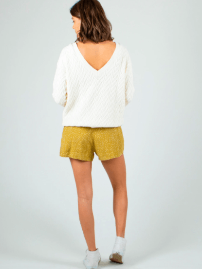 Rusty Women's Sweaters Rusty, Women's Ziggy V-Neck Knit Sweater (Cream)