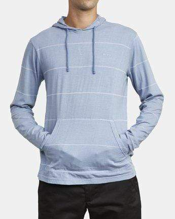 RVCA Men's Sweatshirt RVCA, Men's PTC Striped Hoodie Sweatshirt (Blue)