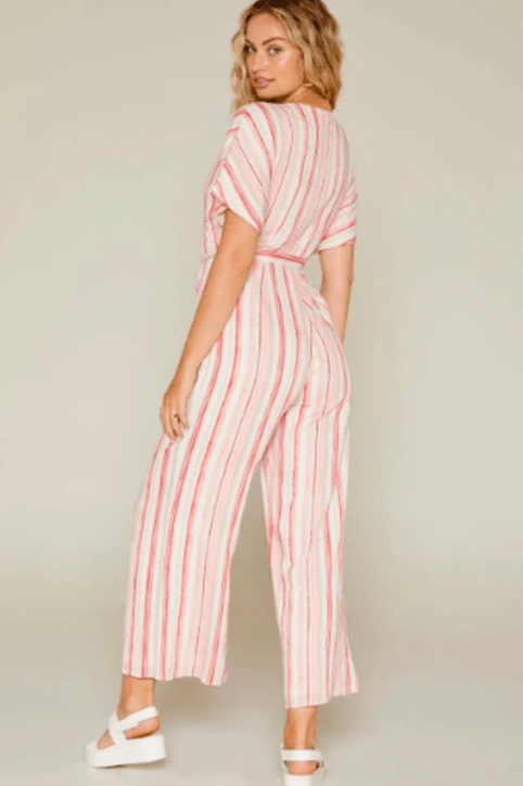 Sadie & Sage Women's Jumpsuits Sadie & Sage, Women's For The Love Stripe Jumpsuit (Pink)