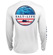 Salt Life Men's Long Sleeve Tee Large / White Salt Life, Men's Respect Performance Long-Sleeve Pocket T-Shirt (White)